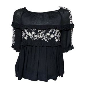 Zara black embroidered top
